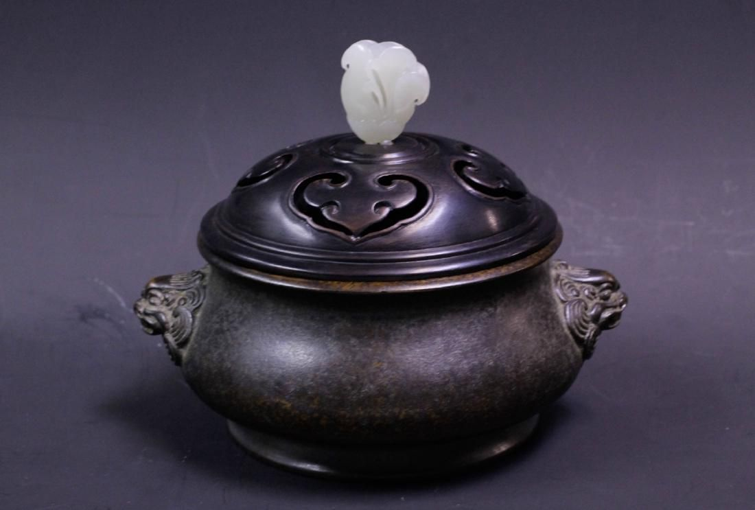 Chinese Bronze Incense Burner w/ Wood Cover