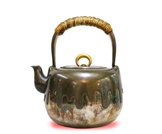 Japanese MeiJi Pd. Bronze Overlaid Silver Teapot