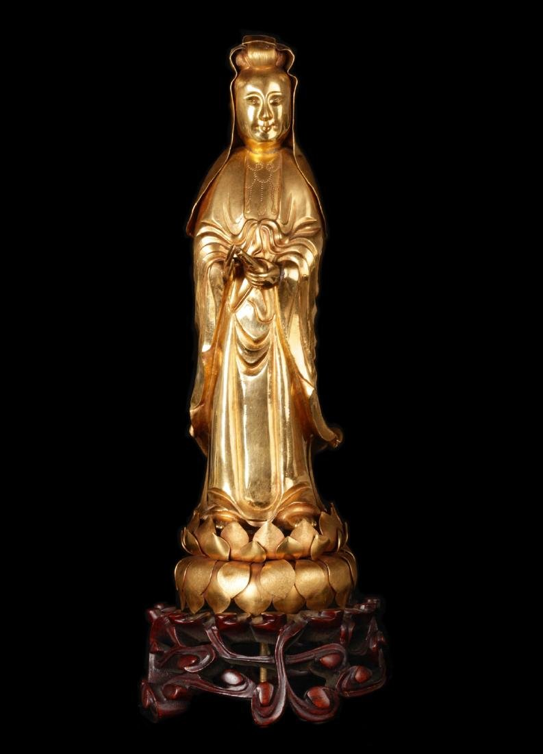 Chinese High-Karat Gold Buddhist Deity GuanYin