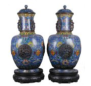 19th C. Chinese Cloisonne Double Vases w/ Cover