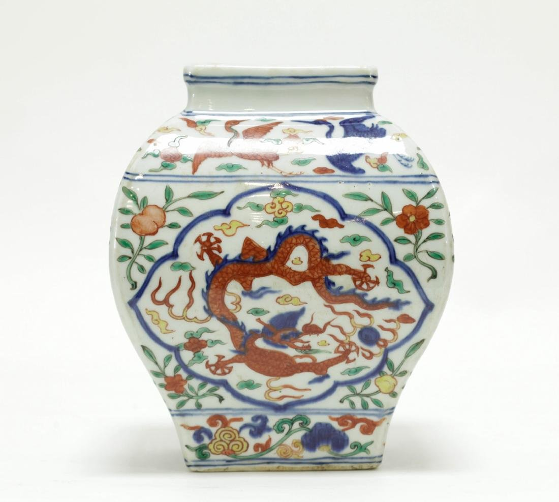 Chinese Famille Verte Square Jar