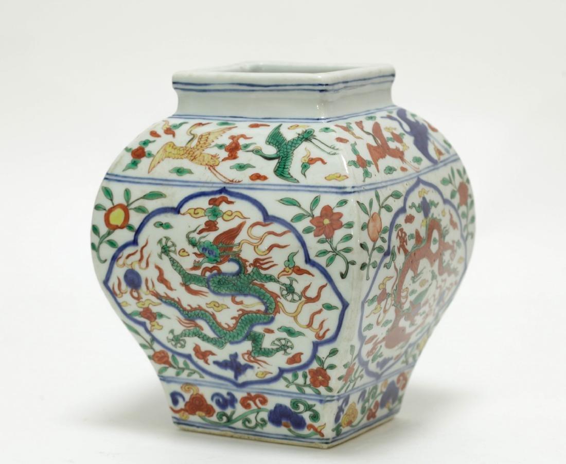 Chinese Famille Verte Square Jar - 2