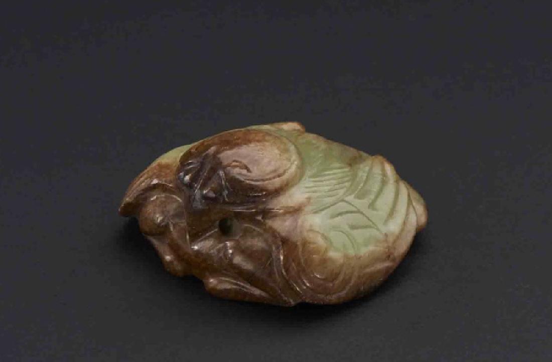 Chinese Yellow Jade Archaistic Bird w Russet - 2