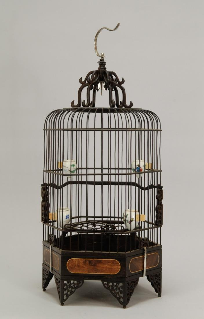 Chinese Wood Carved Bird Cage w/ HuangHuaLi