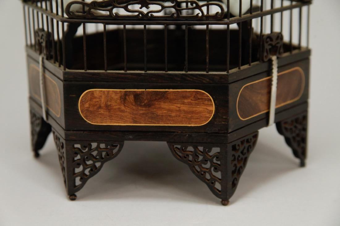 Chinese Wood Carved Bird Cage w/ HuangHuaLi - 3