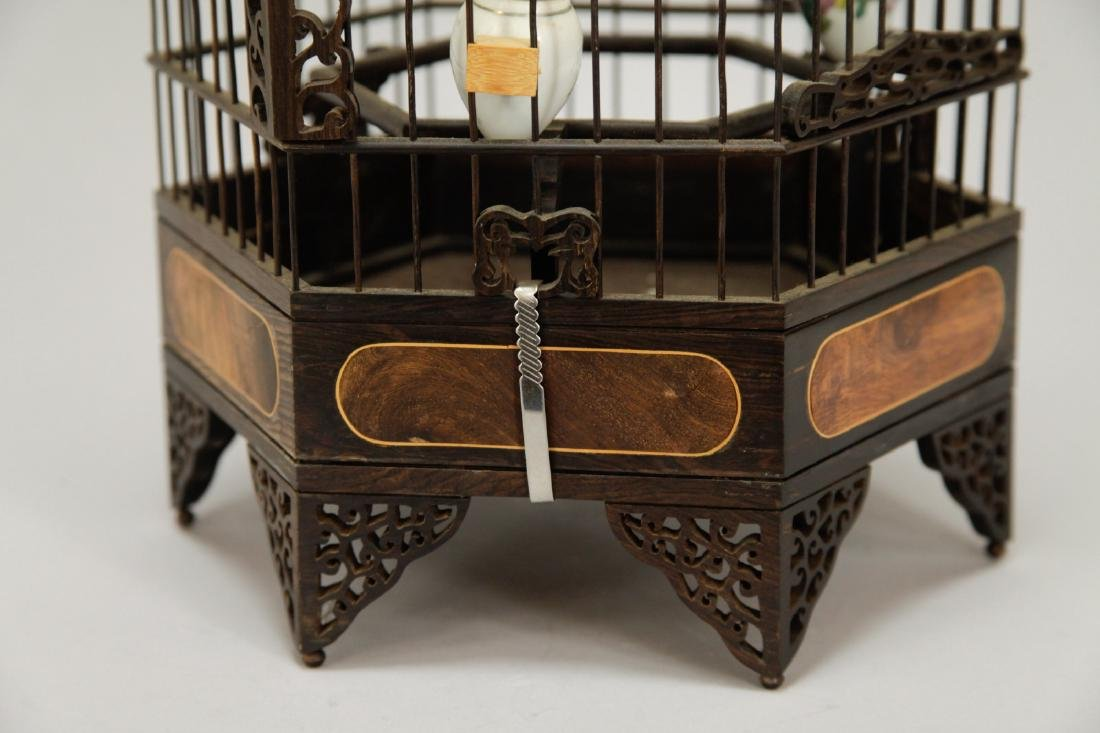 Chinese Wood Carved Bird Cage w/ HuangHuaLi - 4