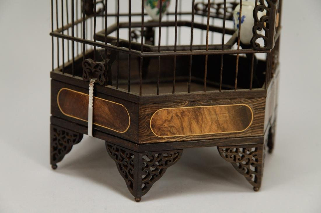 Chinese Wood Carved Bird Cage w/ HuangHuaLi - 5