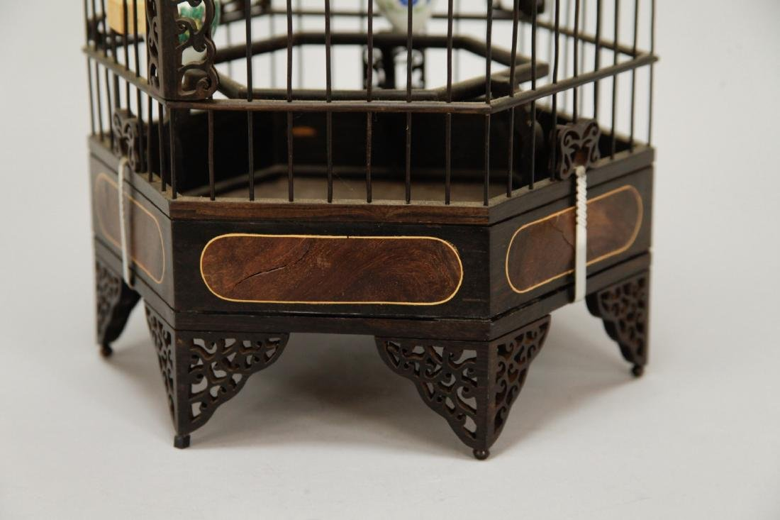 Chinese Wood Carved Bird Cage w/ HuangHuaLi - 6