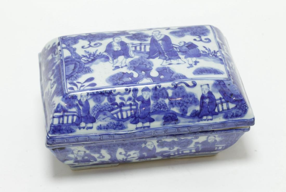 Chinese Blue/White Porcelain Rectangular Box
