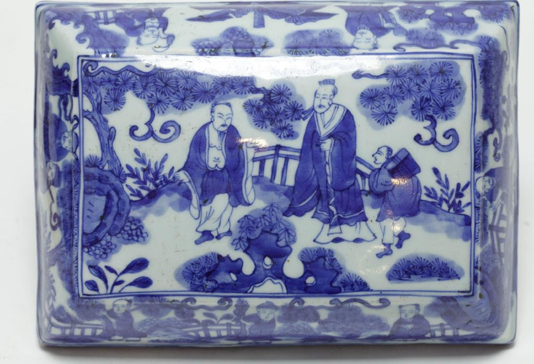 Chinese Blue/White Porcelain Rectangular Box - 2
