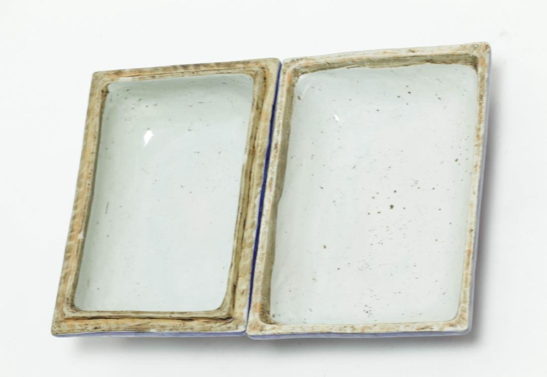 Chinese Blue/White Porcelain Rectangular Box - 3