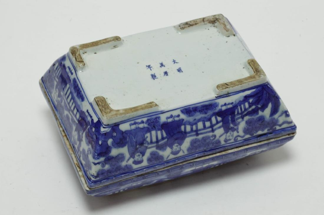 Chinese Blue/White Porcelain Rectangular Box - 4