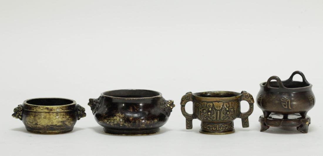 Group of 4 Pieces Chinese Bronze Censers