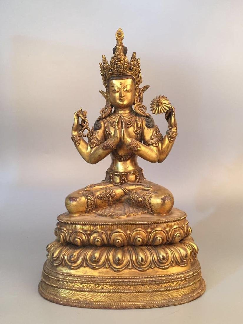 Chinese Gilt Bronze Seating Buddha
