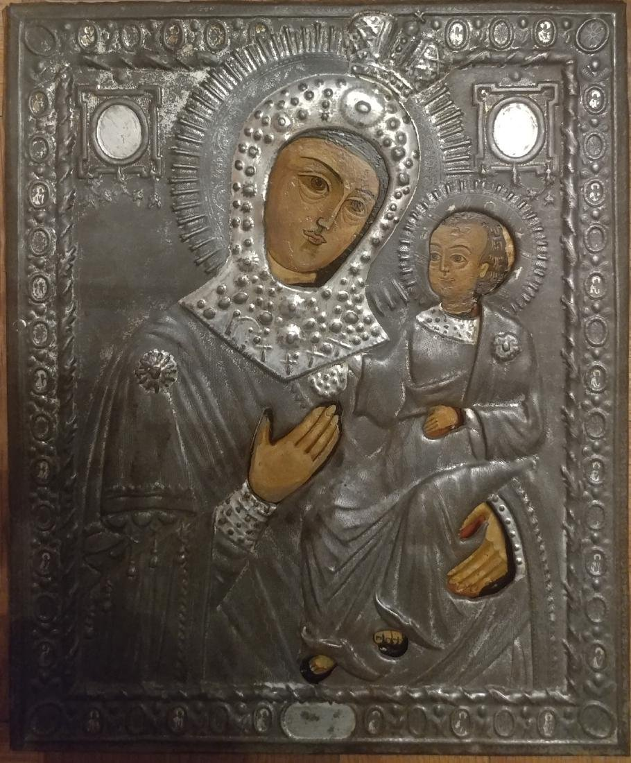 Antique 19c Russian icon of the Kazanskaya Mother
