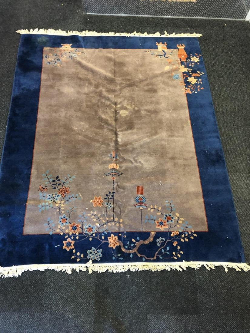 Antique Chinese Old Blue Rug