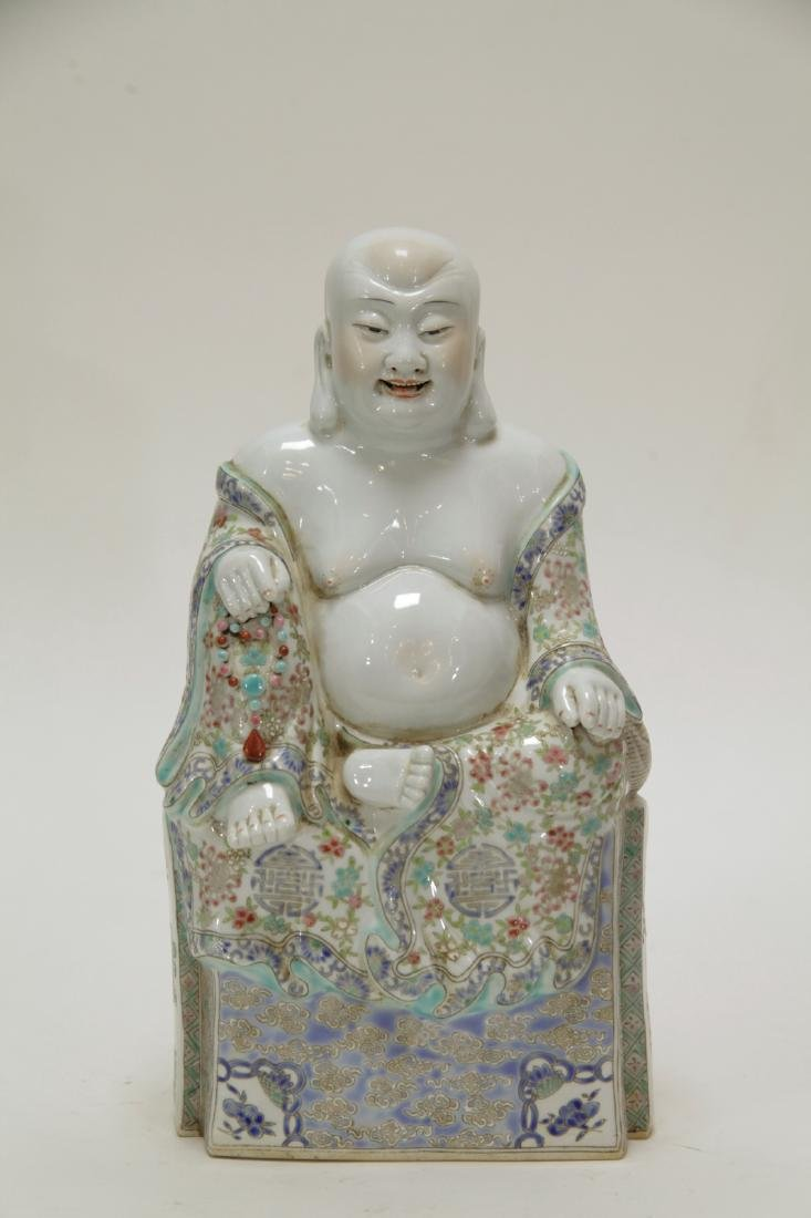 Chinese Famille Rose Porcelain Seating Buddha
