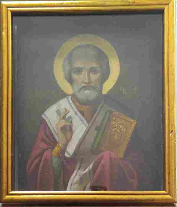 Antique 19c Russian icon of st.Nicholas with kiot.