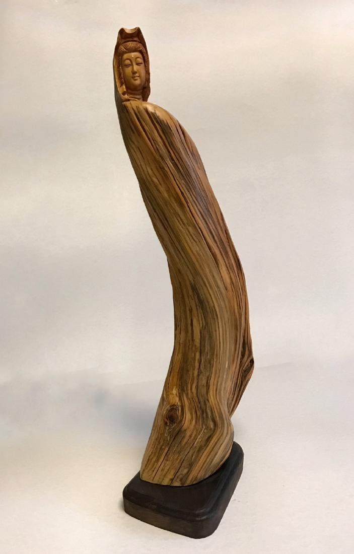 """Chinese """"YaBo"""" wood carving of GuanYin - 2"""