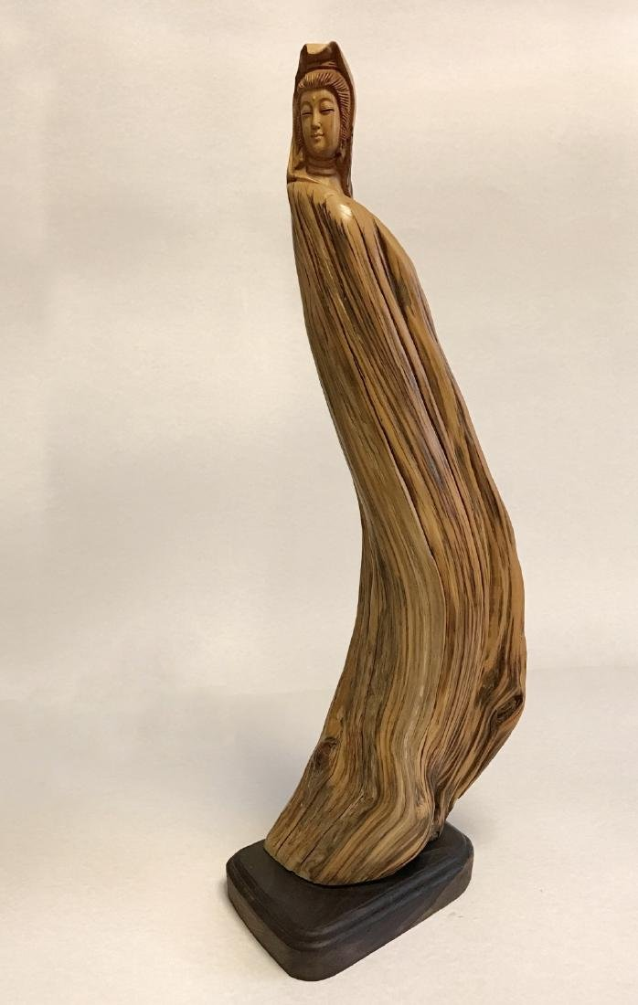 """Chinese """"YaBo"""" wood carving of GuanYin - 3"""