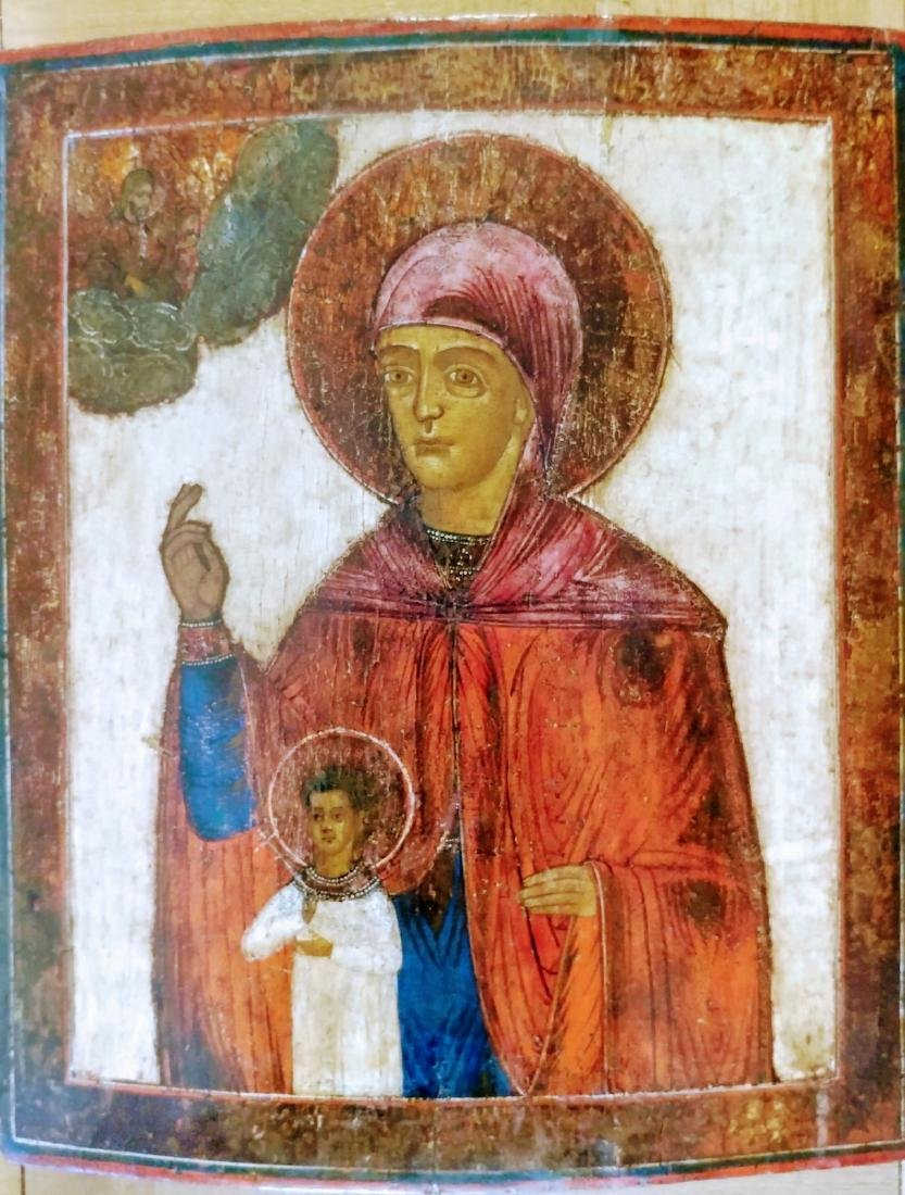 Antique 18c Russian icon of the Mother of God.