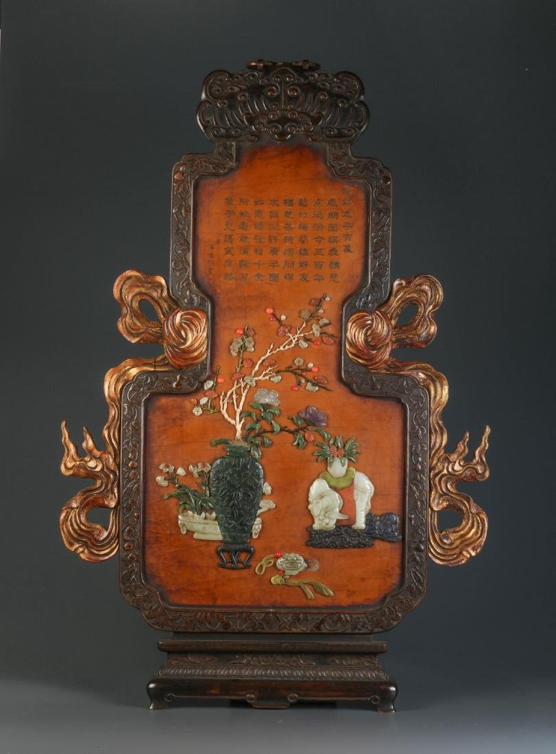 Chinese Hanging Panel Mounted Multiple Jade