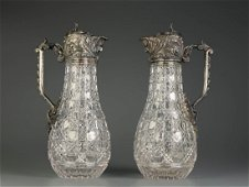 Pair of Russian Crystal and Silver Wine Pitcher
