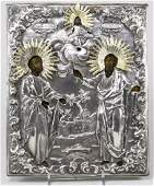 Antique 19c Russian Silver icon of the Peter and P