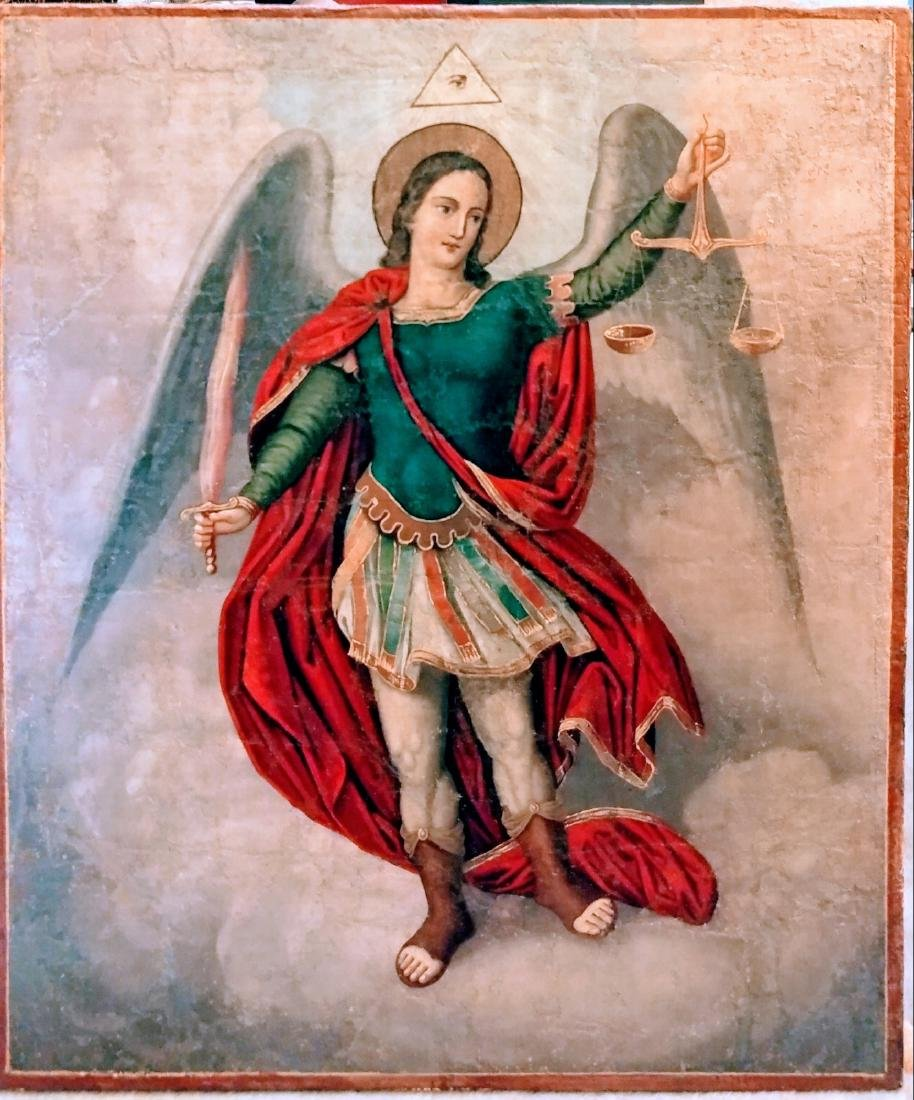 Antique 19c Russian Icon of the Guardian Angel.