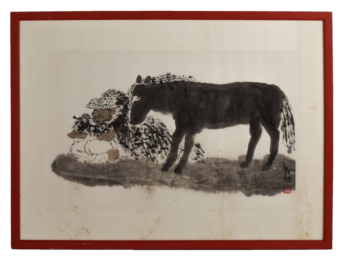 Chinese Watercolor Painting of a Donkey