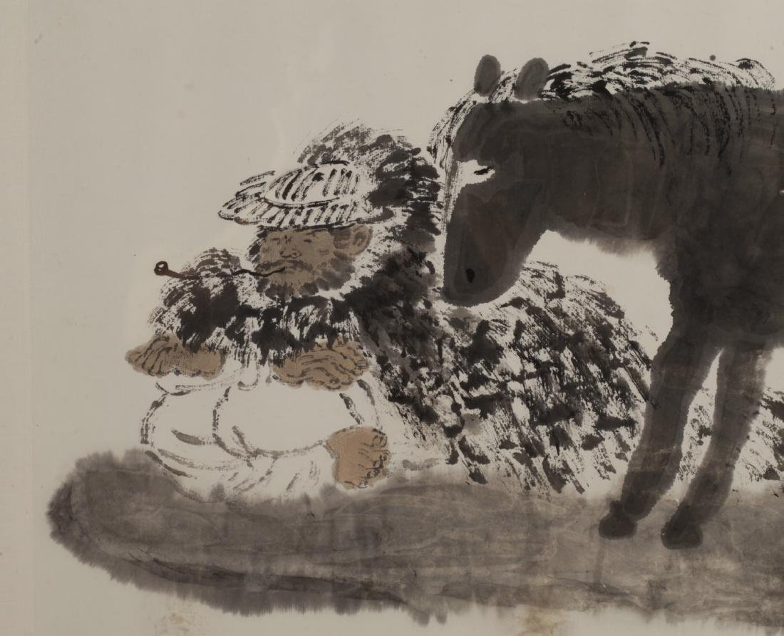 Chinese Watercolor Painting of a Donkey - 2