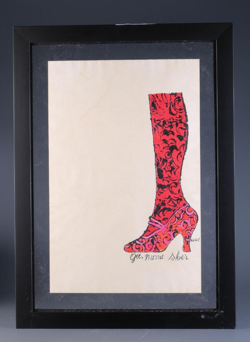 """Hand Colored Lithograph by Warhol """"Gee Merrie Shoe"""