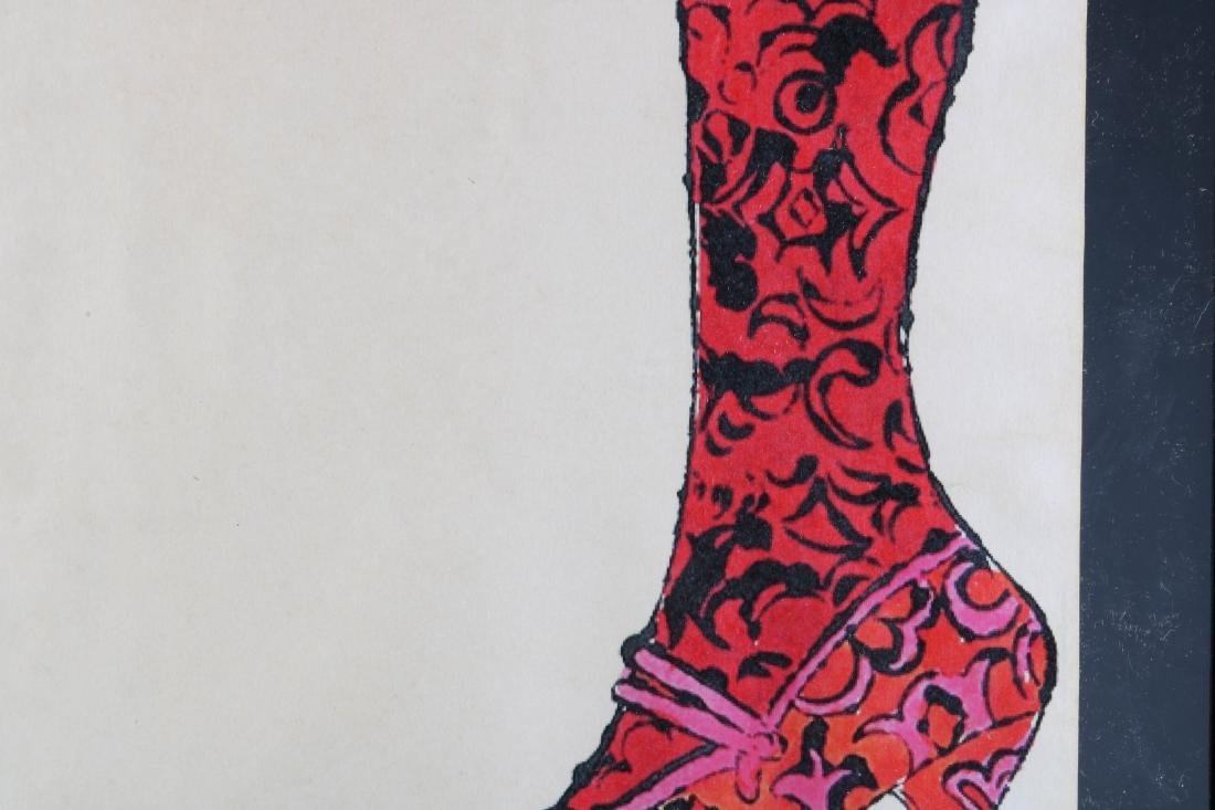 """Hand Colored Lithograph by Warhol """"Gee Merrie Shoe - 3"""