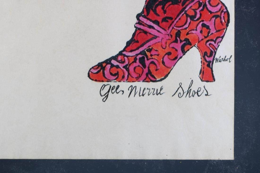 """Hand Colored Lithograph by Warhol """"Gee Merrie Shoe - 4"""
