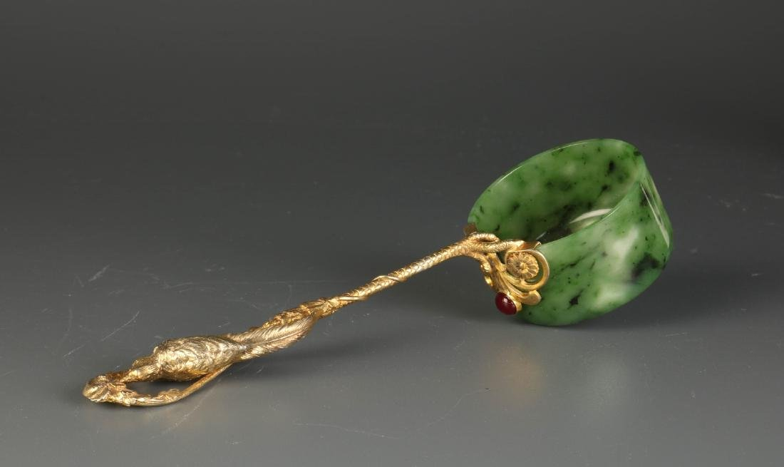 Russian Jade and Silver Spoon
