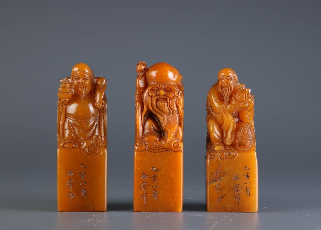 Set of 3 Pieces Chinese Soapstone Seal of Immortal