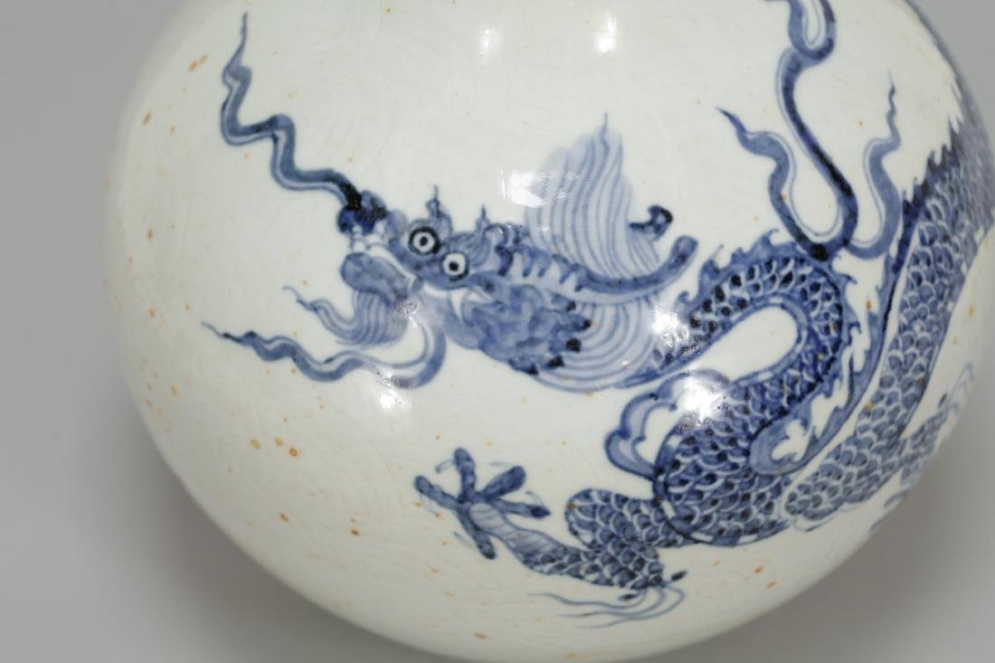 Chinese Yongle Style Porcelain Vase w/ Dragon - 3