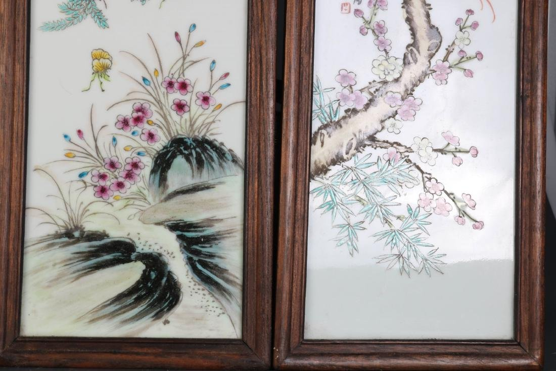 Set of Four Chinese Famille Rose Porcelain Plaques - 3