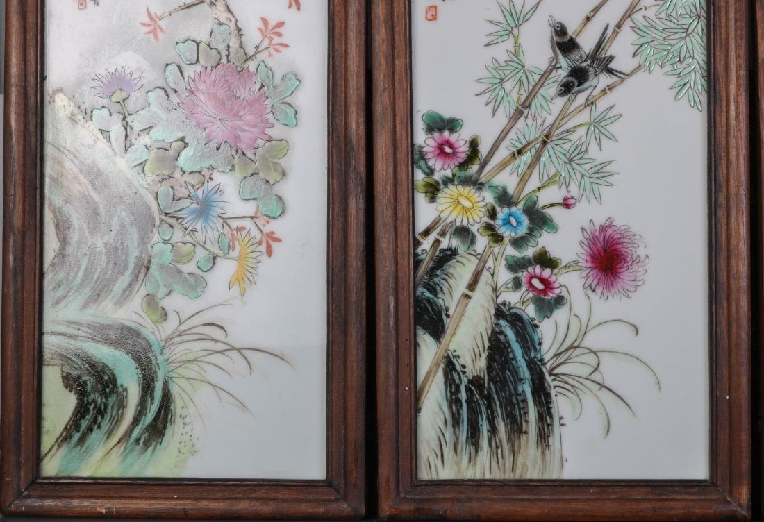 Set of Four Chinese Famille Rose Porcelain Plaques - 5