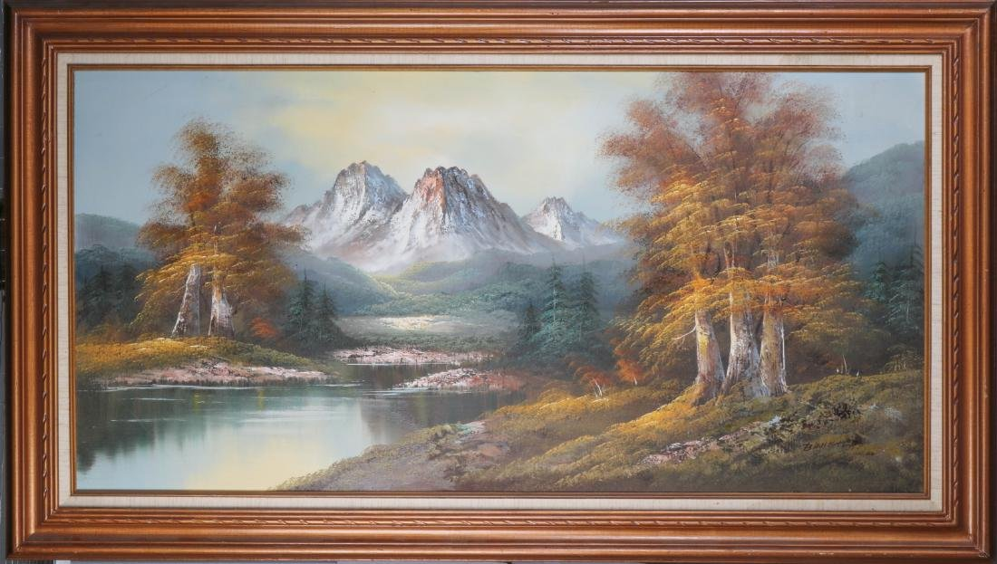 European Large Horizontal Oil on Canvas Painting