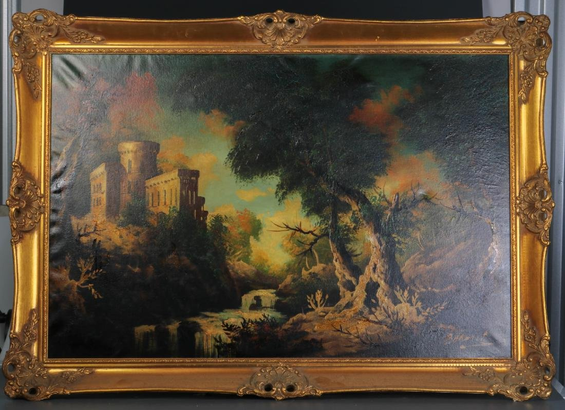 "Oil on Canvas of a Castle and Trees, By ""Baroni"""
