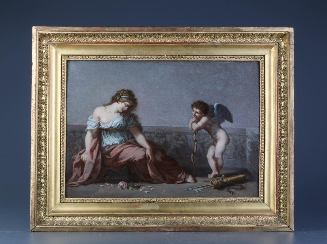 """Pierre-Paul-Prud'hon"" Oil on Board w/ Gilt Frame"