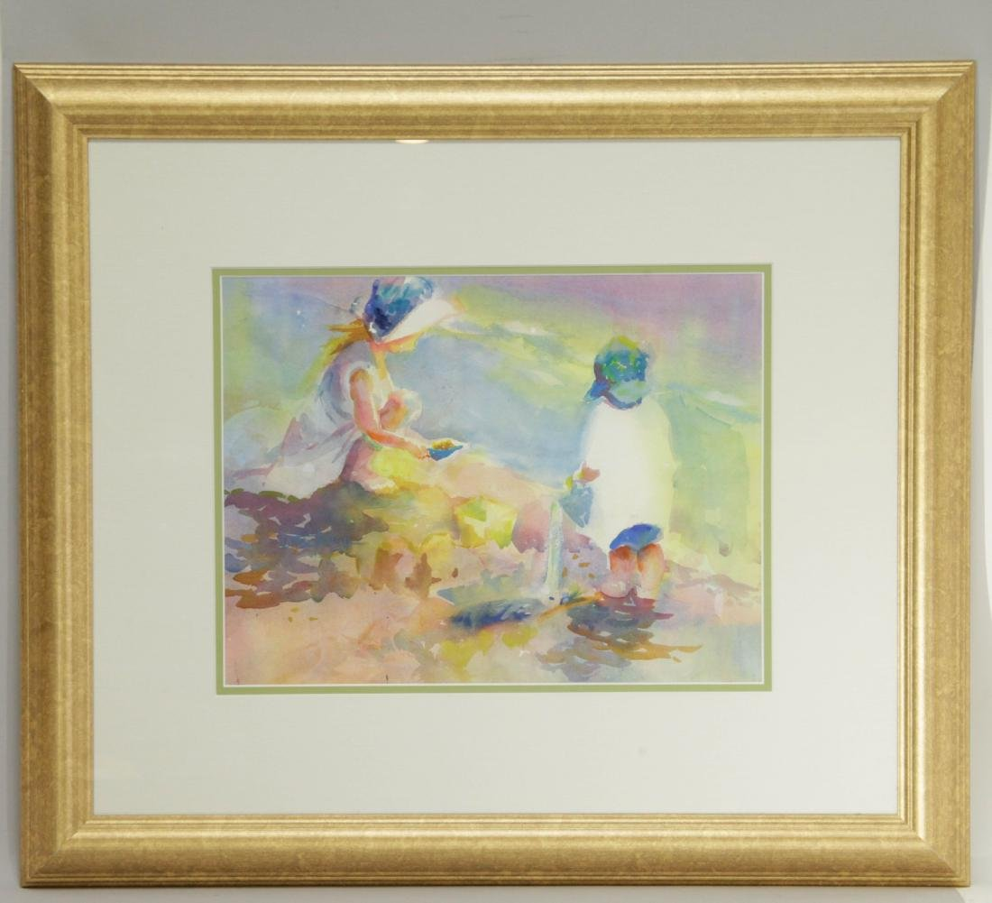 Watercolor Framed of Children on Beach Scene