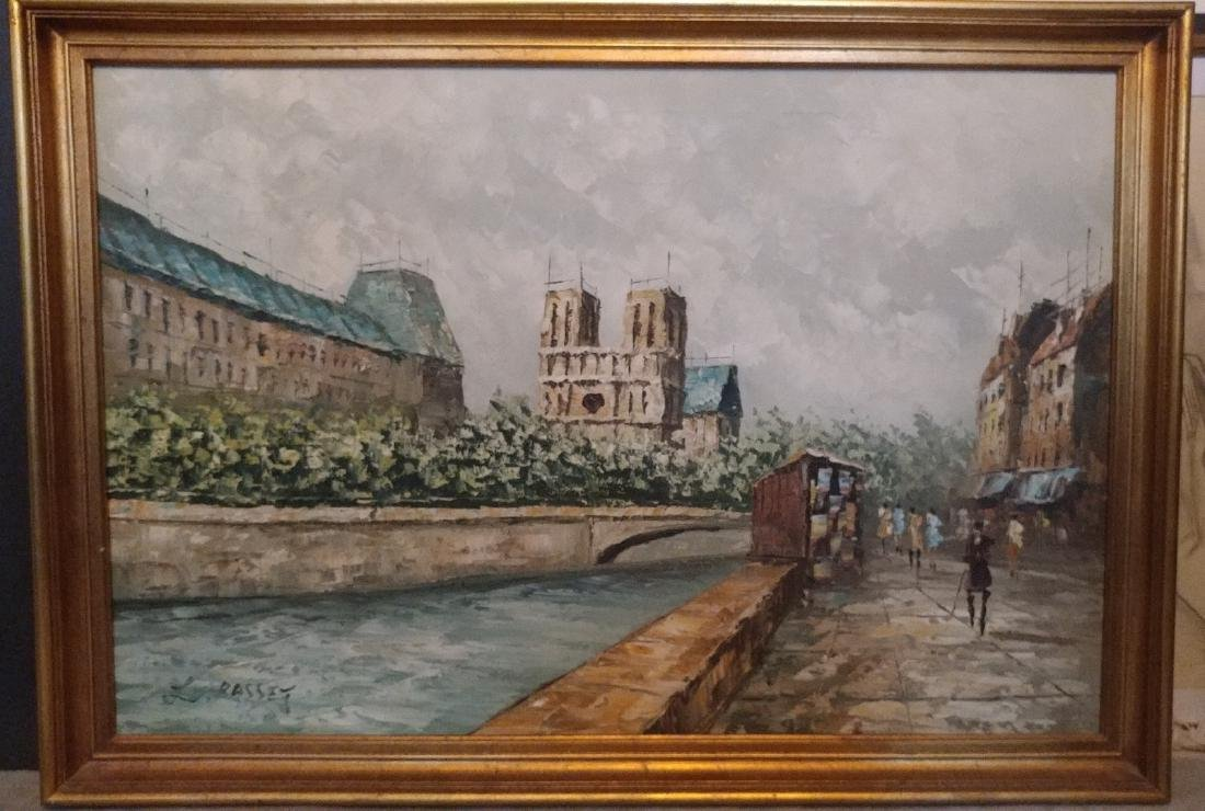 Large French school Oil on Canvas signed Basset