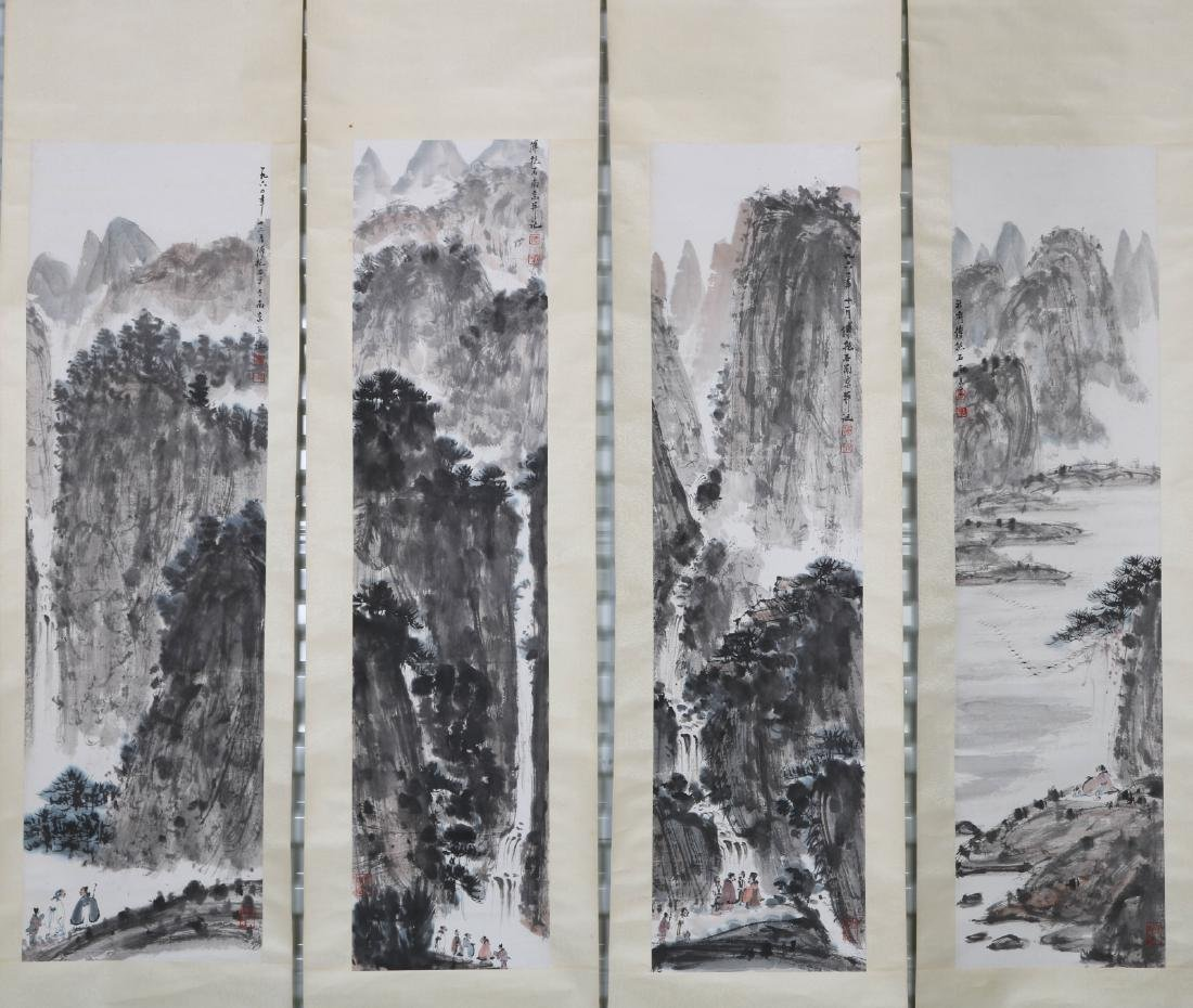 Chinese Four Set of Landscape Watercolor Painting