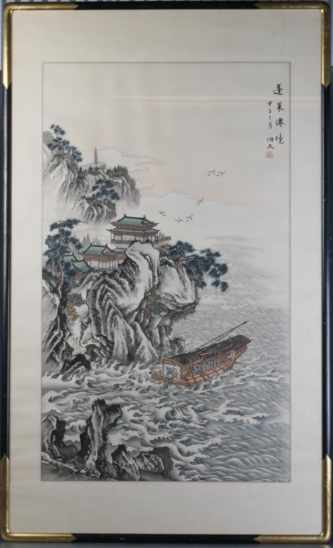 Chinese Watercolor on Silk Painting of Landscape