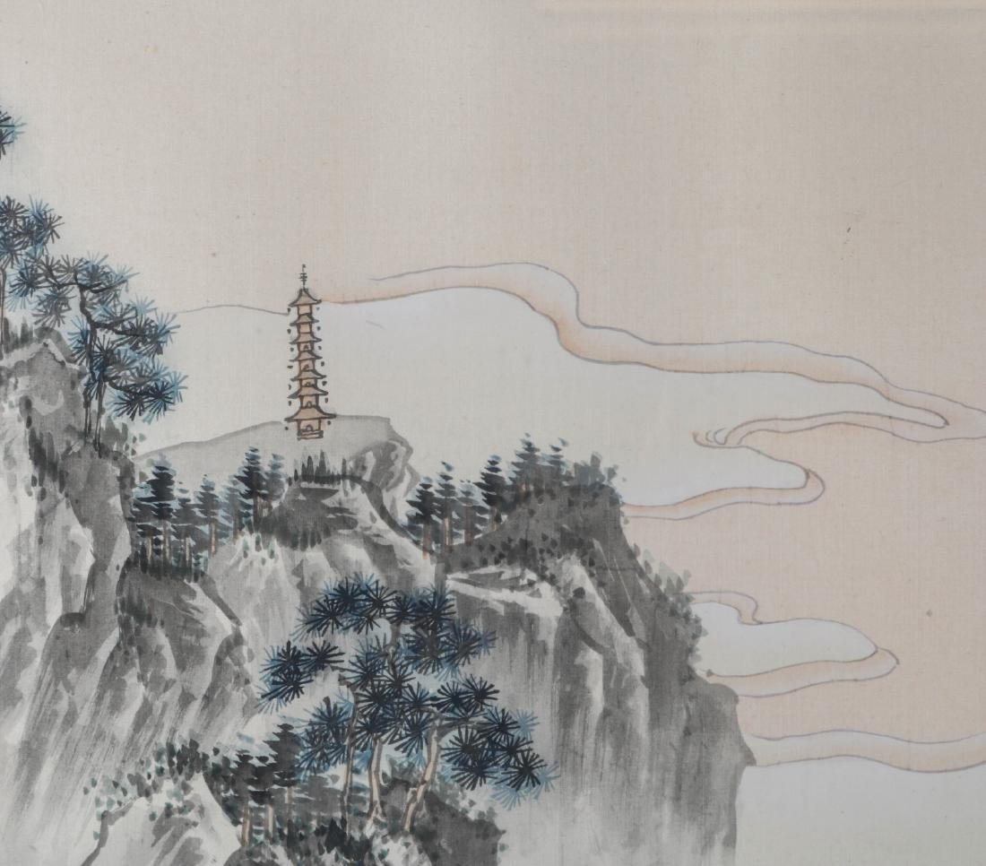 Chinese Watercolor on Silk Painting of Landscape - 3