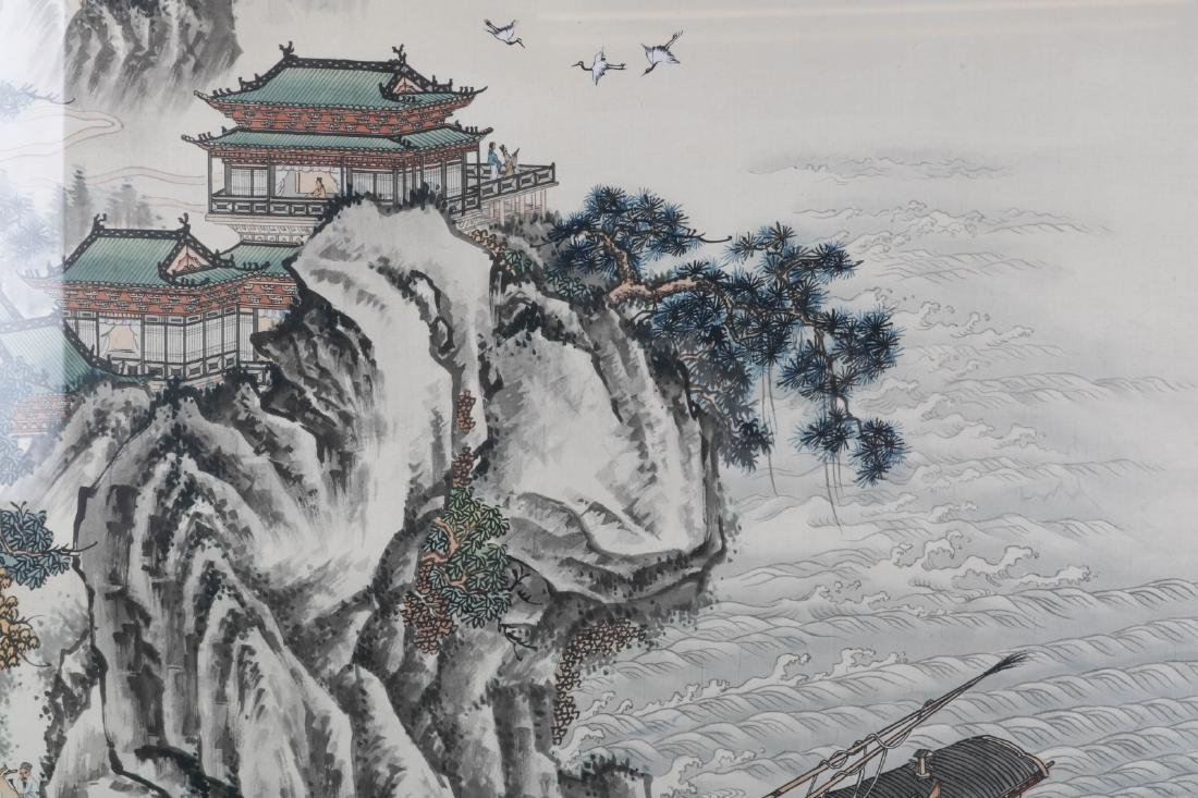 Chinese Watercolor on Silk Painting of Landscape - 5