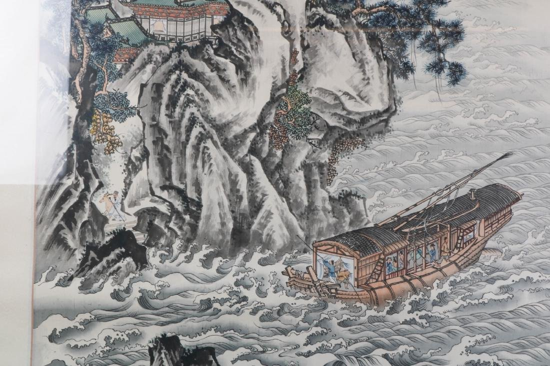 Chinese Watercolor on Silk Painting of Landscape - 6