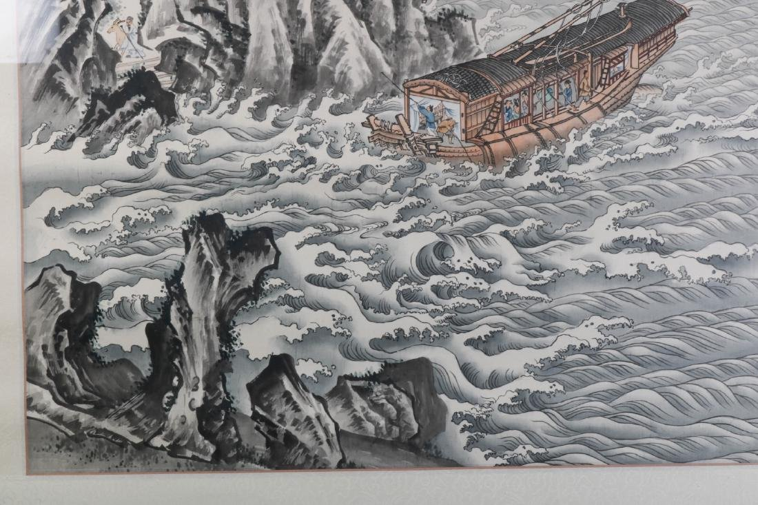 Chinese Watercolor on Silk Painting of Landscape - 7